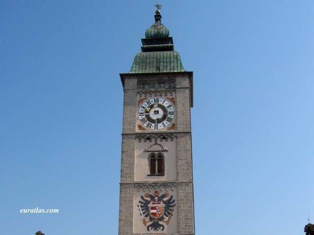 Click to download the The Belfry of Enns with the Austrian Coat of Arms
