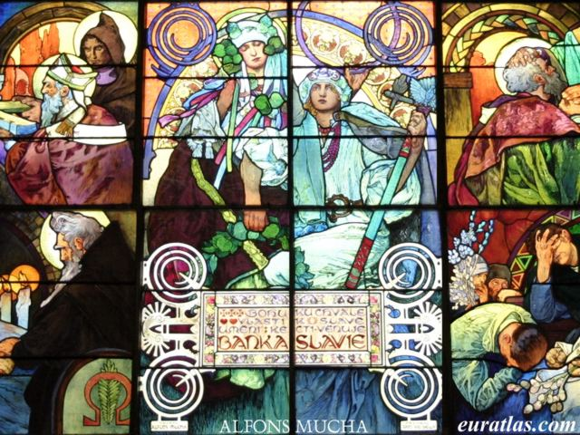 Click to download the Stained Glass Window by Alfons Mucha, St. Vitus Cathedral