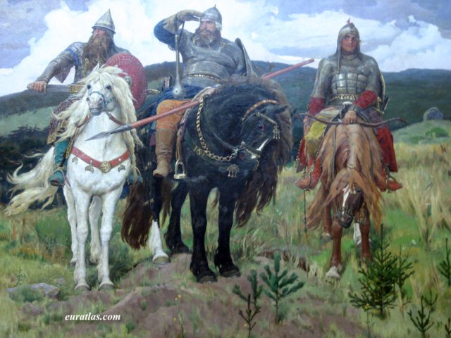Click to download the The Bogatyrs, Heroic Warriors, by Viktor Vasnetsov