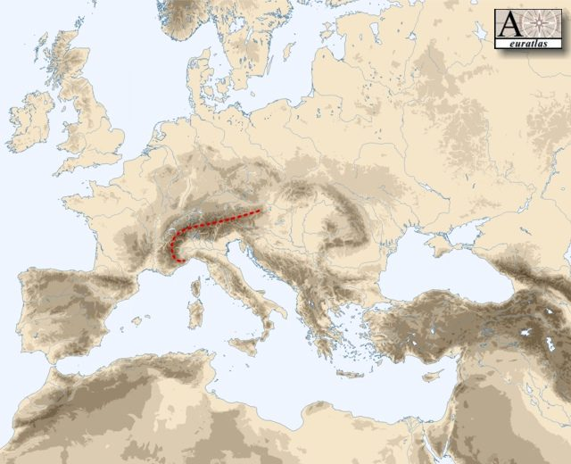 Physical Atlas Of Europe Mountains Of Europe Alps