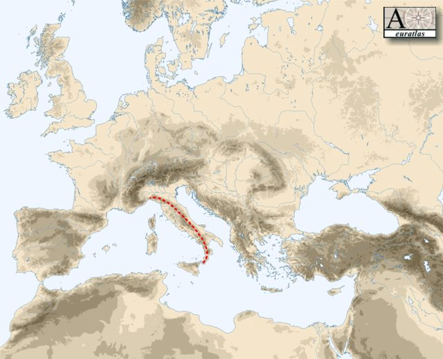 Physical Atlas of Europe: Mountains of Europe - Apennines
