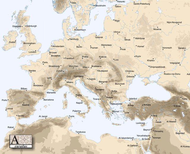 carte europe principales villes
